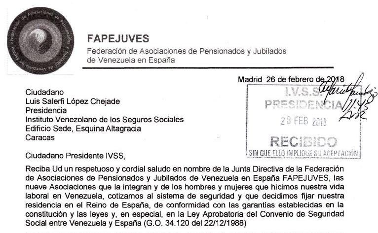 VENEZUELA. Carta entregada alIVSS